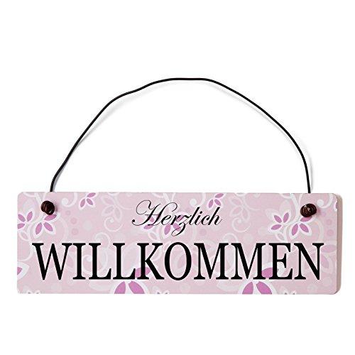 ild Herzlich Willkommen Vintage Holz Türschild in rosa mit Draht ()