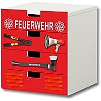 Preisvergleich für Stikkipix Feuerwehr Möbelsticker/Aufkleber - S4K20 - passend für die Kinderzimmer Kommode mit 4 Fächern/Schubladen STUVA von IKEA - Bestehend aus 4 passgenauen Möbelfolien (Möbel nicht inklusive)