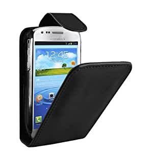 LEATHER FLIP SERIES CASE COVER + SCREEN PROTECTOR FOR SAMSUNG GALAXY S3 MINI I8190 (BLACK)