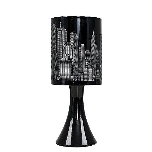 d Touch-Me Tischlampe mit einem glänzigen schwarzen Finish und einem Lampenschirm mit Horizontmotiv von New York ()