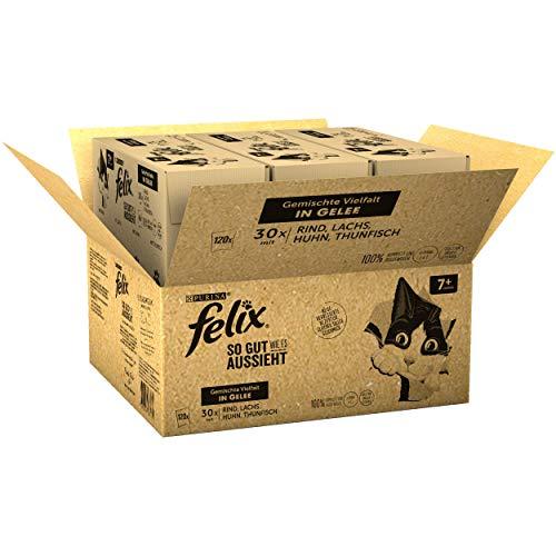 Felix Katzennassfutter So gut wie es aussieht in Gelee Senior Gemischte Vielfalt 120x 85 g Portionsbeutel