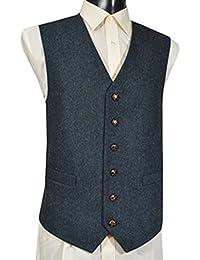 Gilet sans manche en laine mélangée tweed bleu - Homme