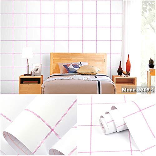 Carta da parati autoadesiva impermeabile a strisce per camera da letto con carta da parati a righe 0.45m * 10m 5309-1 [ispessimento] 10 metri
