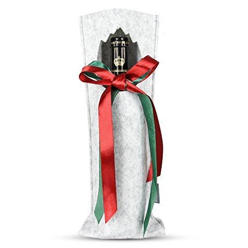 Freshore Filz-Wein-Fördermaschine-einzelne Flasche - rotes grünes Seidenband - Idee für nette Geschenke (Flasche Weinkühler Einzelne)