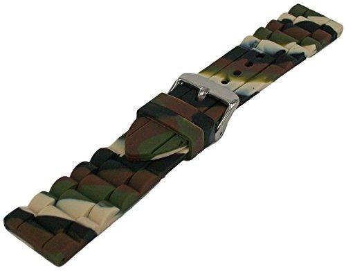 Silikon Armband Camouflage 18mm-26mm Uhrenarmband Glieder Muster Uhrband 22mm - Silikon 23mm Uhrenarmband