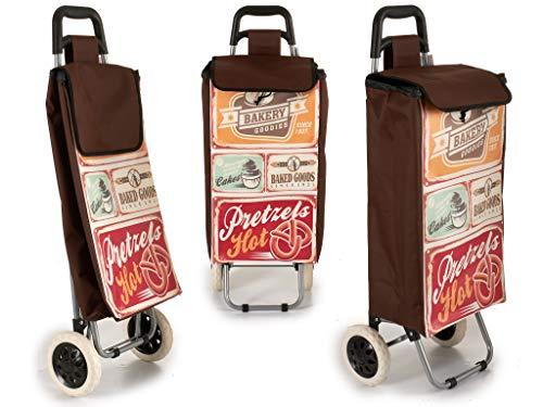 Arte Regal Einkaufstrolley Vintage mit Zwei Rädern, Maße 30 x 35 x 95 cm.