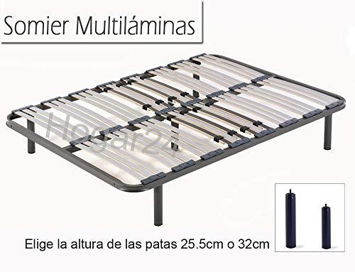 HOGAR 24 Somier Multiláminas con Reguladores Lumbares + Juego De 4 Patas De 32cm, 80x190cm