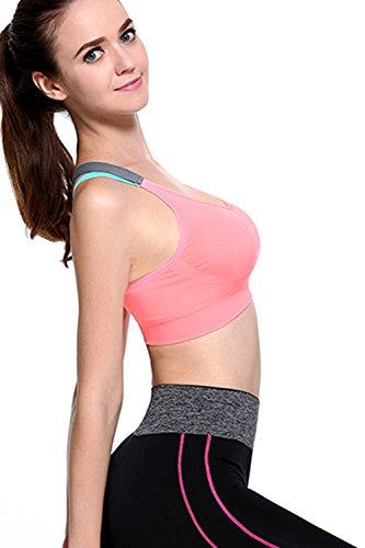 Croisée retour élastique sans fil Sport Bra la femme pink