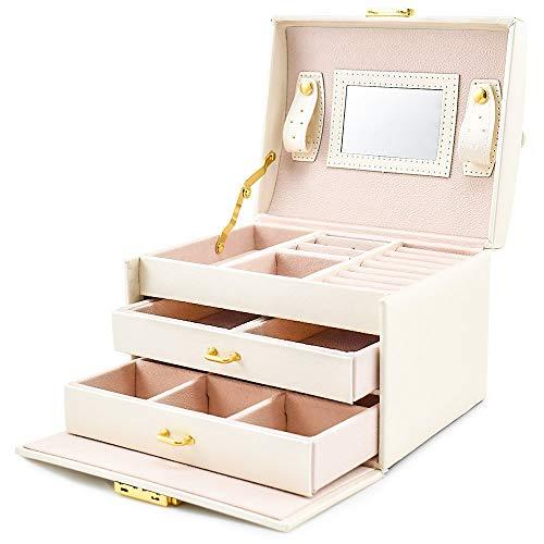 GY Schmuck aufbewahrungsbox kunstleder schmuckschatulle eingebauten spiegel abschließbar kompakte größe make-up lagerung,White-17.5 * 14 * 12cm