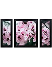 Home Attire beautiful flower matte finish paintings- Set of 3(6x14inches-2) + (12X14inches -1)