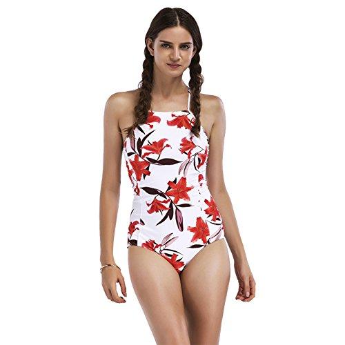 iBaste summer Costume da bagno con motivo floreale Pin up libero posteriore Costumi da bagno per le donne Bianco