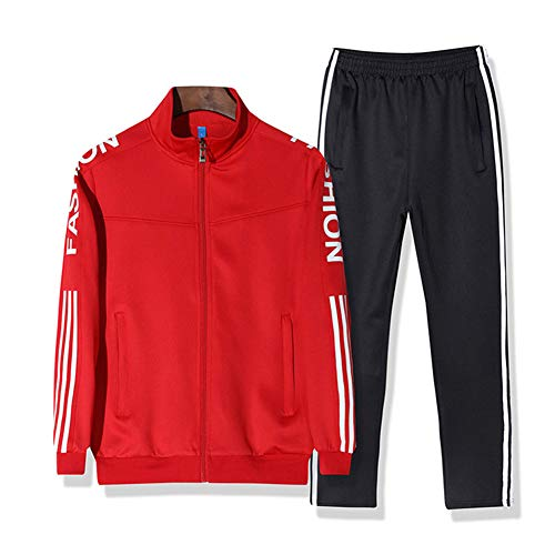 ZWYY Herren-Tracksuits, Casual Stripe Stand Collar Sportswear Long Sleeve Full-Zip Running Jogging Sweatsuit Sports Jacket and Pants,red,L Full Zip Stand