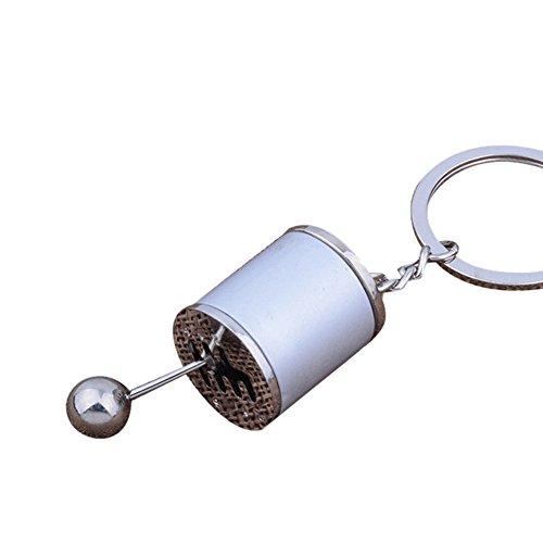 Kycut Personalisierter Schlüsselring Halter Schaltknauf Schaltknauf Schaltsack Schaltknauf Schaltgetriebe Metall Schlüsselanhänger Autoschlüssel Geschenk, weiß
