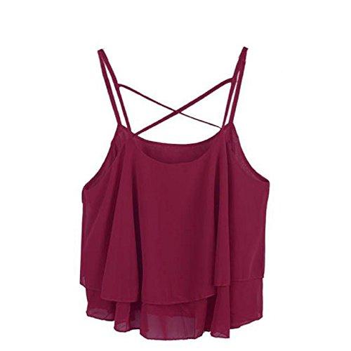 Camicetta,WINWINTOM Donne Irregolare Chiffon Camicia Canotta Vest (Vino