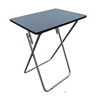 ANZ Foldable Occasional TV Table Bed Side Steel Stand Legs Compact Stylish S/L Size (Large, Black)