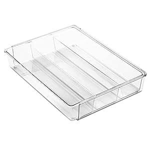 interdesign linus schubladenbox extragro er besteckkasten mit 4 langen f chern aus kunststoff. Black Bedroom Furniture Sets. Home Design Ideas