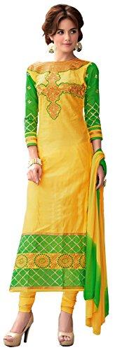 Blissta Yellow Cotton Embroidered Partywear Salwar suit Dress Material