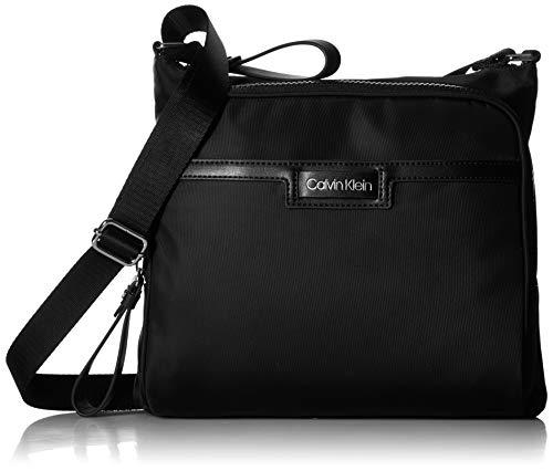Calvin Klein Damen Lane Nylon North/South Messenger Crossbody Kuriertasche, schwarz/Silber, Einheitsgröße (Body South Cross)