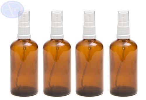 LOT de 4 - Flacons en verre AMBRE 100 ml avec spray ATOMISEUR blanc. Utilisation pour les huiles essentielles / et en aromathérapie