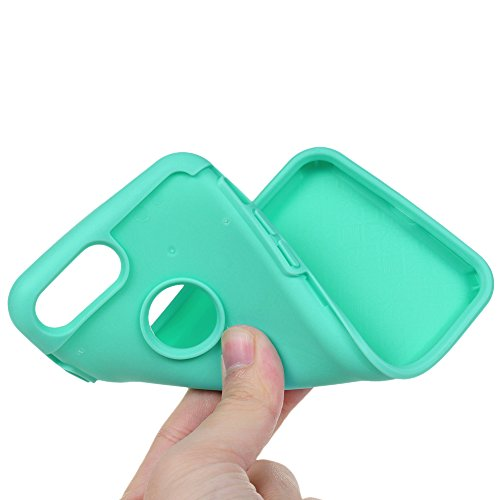iPhone 7 Case Schutzhülle iPhone 7 Hülle YOKIRIN Hybrid Case Cover Premium Dual Layer Schutz Handyhülle Hart PC Hardcase Hartschale + Innere Flexibel TPU Silikon Case Skin Handytasche Bunt Muster:Gart Gartenblumen Mintgrün