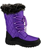 Cotswold Ladies Gale Faux Fur Trim Waterproof Leather Snow Boot Pink