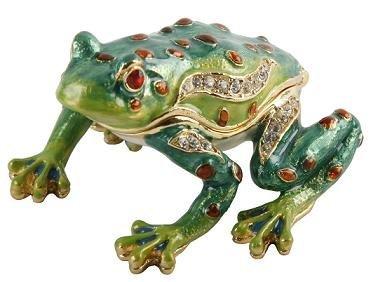 Boîte à bijoux à babioles Grenouille–Strass et émaillé cadeau (14912)