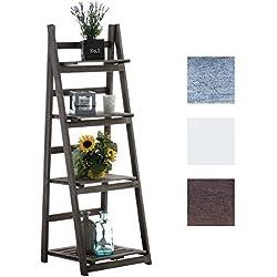 CLP estantería escalera FREDERIKA, aprox. 115 x 40 x 35 cm, 4 baldas, estantería decorativa de madera Marrón oscuro