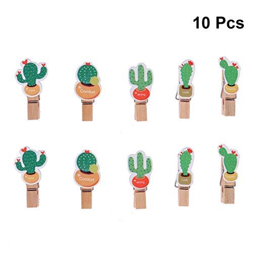 Amosfun 10 STÜCKE Kaktus Foto Clips Holz Foto Pegs Clips Hinweis Memo Kartenhalter Kaktus Foto Clips Hochzeit Geburtstag Luau Hawaii Partei Liefert