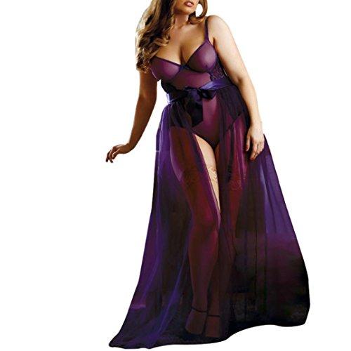 en Dessous Set Babydoll Trikot Rock Jumpsuit Nachtwäsche Übergröße Erotisch Underwear Set Langer Rock Nightwear Reizwäsche Set BH Hemd und Slip Unterhemden BH-Hemden (Lila, S) (Jax Kostüme)