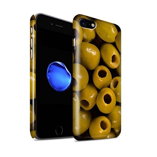 STUFF4 Glanz Snap-On Hülle / Case für Apple iPhone 8 / Grüne Bohnen Muster / Lebensmittel Kollektion Oliven