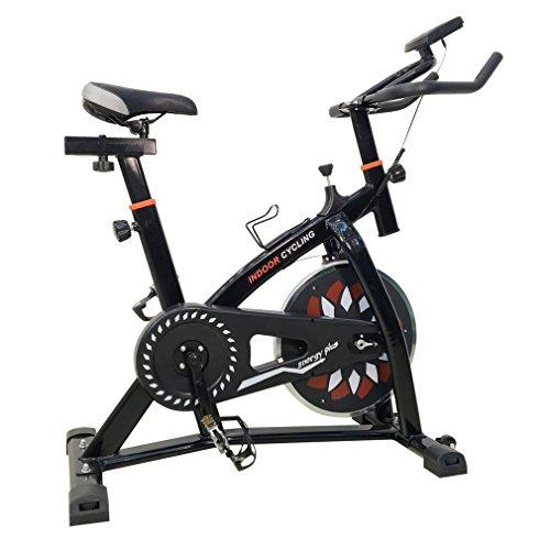 OUTAD Profi Indoor Cycle Fahrrad Heimtrainer Fahrrad Trimmrad Indoor Fitness Bike mit LCD Display, Speedbike Flüsterleisem Riemenantrieb, Fahrrad Ergometer bis 120KG (Schwarz) (Cycle Fitness)