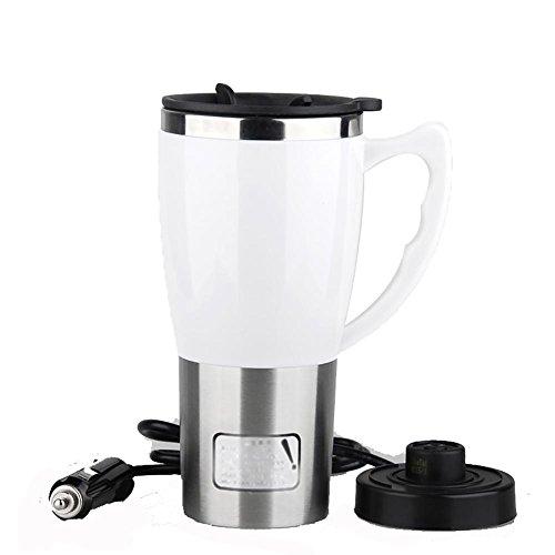 Preisvergleich Produktbild huanlebao Tragbarer Beheizter 12/24V KFZ Wasserkocher Edelstahl Tasse Auto Kaffeetasse mit Ladegerät 400ml, 12V, weiß