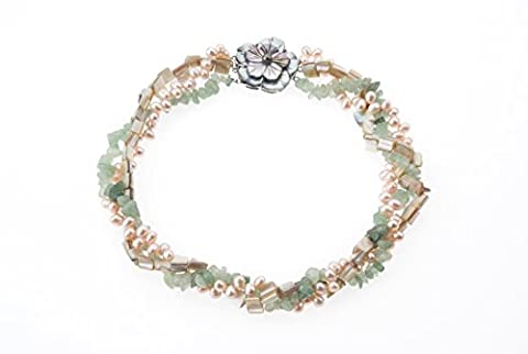 Lustrous-Peach Pearl Necklace with Green Jade Chips, Mother of Pearl Beads and Flower MOP Clasp