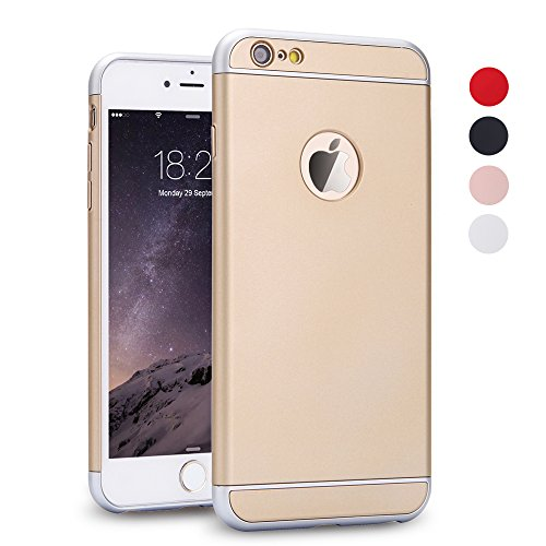 iPhone 6 Plus Case,3 In 1 Ultra Thin and Slim Hard Case Coated Non Slip Matte Surface with Frame for Apple iPhone 6 Plus (5.5'')(2014) and iPhone 6S Plus (5.5'') - Rose Gold Gold