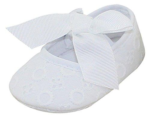 Aivtalk Baby Mädchen Taufschuhe Mary Jane Schuhe Babyschuhe Krabbelschuhe mit Schleife Kleine Prinzessin - Weiß 13cm -