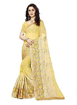 Sunshine Fashion Chiffon Saree With Blouse Piece (Sunsa2422_Yellow_Free Size)