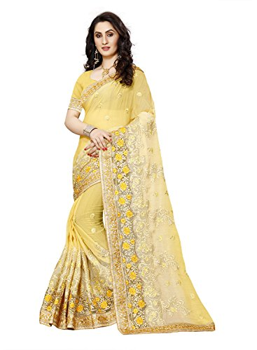 Sunshine Fashion Charming Women's Yellow Color Georgette Party Wear Saree