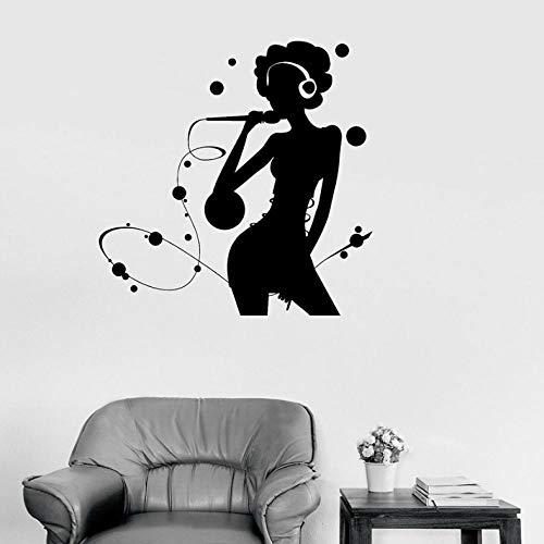 Chant Chanson Sticker Karaoké Silhouette Femme Pop Musique Chanteur Vinyle Autocollants Fenêtre En Verre Murale Filles Chambre Décor À La Maison 57x57cm