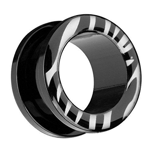 Piersando Flesh Tunnel Ohr Plug Ear Piercing Ohrpiercing Kunststoff Tribal Ethno mit Schwarz Zebra Streifen Style 12mm -