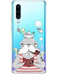 Suhctup Compatible con Huawei Mate 30 Pro Funda de Transparente Silicona con Dibujos Lindo Animados Animal Diseño Patrón Cárcasa Suave Ultrafina TPU Antigolpes Protección Caso, Animal Barbudo