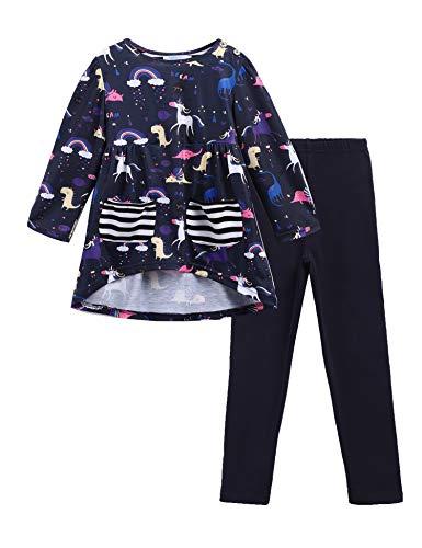 Kinder Mädchen Kleidung Sets Langarm Top+Hose Outfit Zweiteilige Schlafanzug Pyjama Sets mit Tierdruck Kleinkind Bekleidungsset 3-11 Jahre -