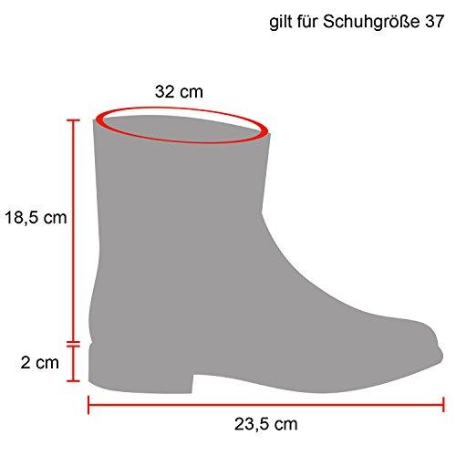 Damen Schuhe Schlupfstiefel Boots Winterstiefel Dunkelbraun Blumen