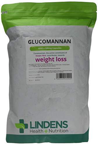 Lindens - Glucomannan (Konjac Fiber) 500 mg Kapseln - 1000 Packung - Faser-ergänzung Kapseln