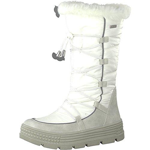 Tamaris Damen Winterstiefel 26631-31,Frauen Winter-Boots,Fellboots,Fellstiefel,wasserabweisend,Blockabsatz 5cm,Offwhite Comb,EU 40