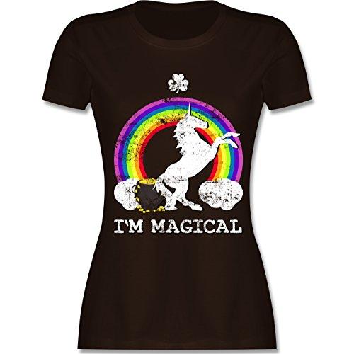 Shirtracer St. Patricks Day - I'm Magical Einhorn St. Patricks Day Vintage - Damen T-Shirt Rundhals Braun