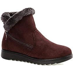 2018 Zapatos Invierno Mujer Botas de Nieve Casual Calzado Piel Forradas Calientes Planas Outdoor Boots Antideslizante para Mujer