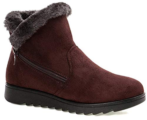 Womens Comfort Warm Fur Lined Boots Winter Snow Boots Ladies Non Slip Ankle Short Booties Low Heel Flats Comfy Boots Shoes Size