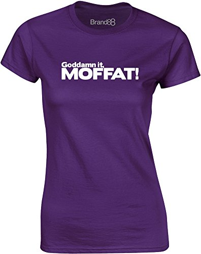 Brand88 - Goddamn it, Moffat, Mesdames T-shirt imprimé Pourpre/Blanc