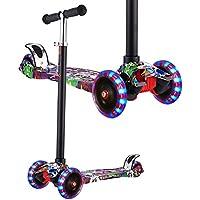 WeSkate Kinderroller Dreiradscooter mit PU LED Leuchtenden Räder und 3 Stufen Einstellbare Höhe Doppel-Hinterrad Big Wheel für Kinder 3-12 Jahre alt