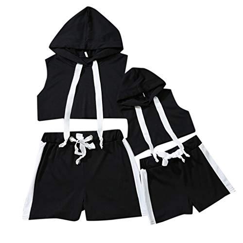 xmansky Eltern-Kind-Kleidung Partnerlook,Mutter und Tochter der Frauen Feste Farbe mit Kapuze Sportband Eltern-Kind-Sportkleidung 2-teiliger ()